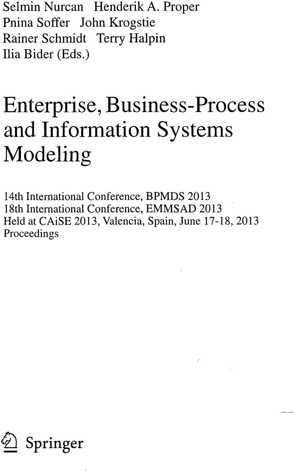) Enterprise, Business-Process and Information Systems Modeling 14th International