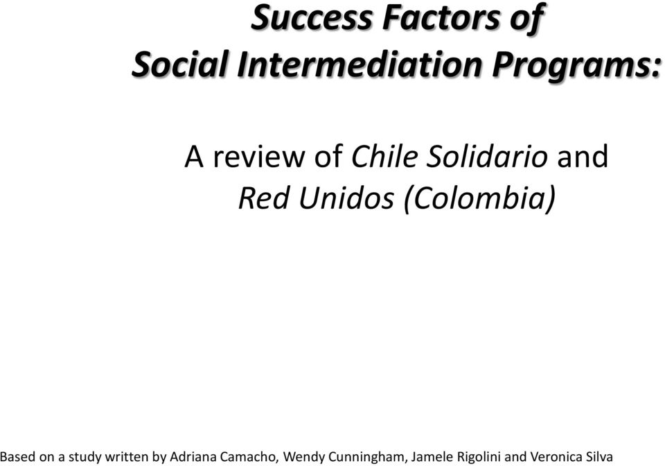 (Colombia) Based on a study written by Adriana