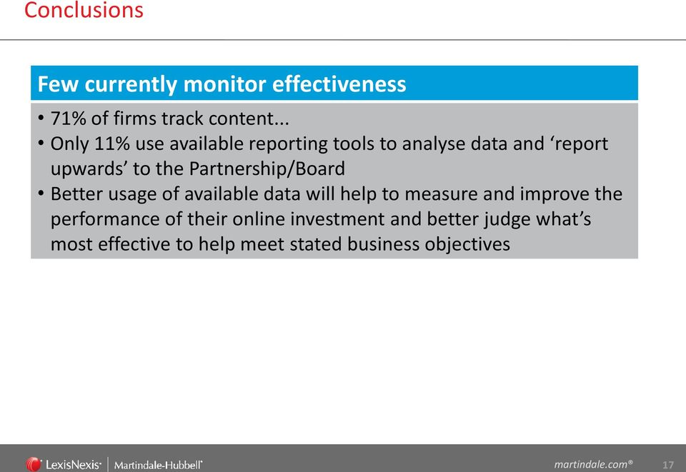 Partnership/Board Better usage of available data will help to measure and improve the