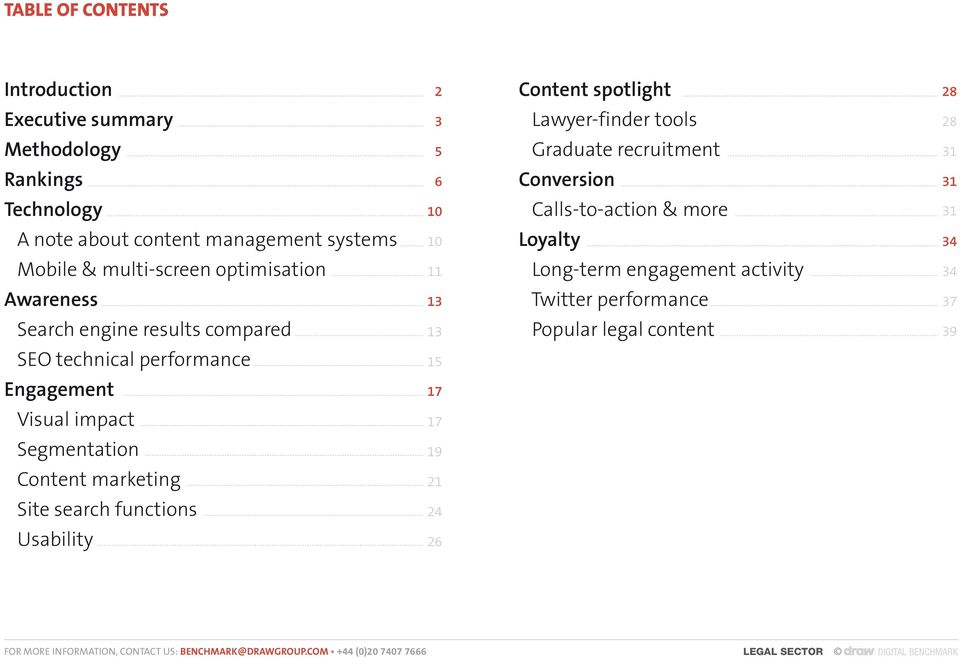 optimisation 11 Long-term engagement activity 34 Awareness 13 Twitter performance 37 Search engine results compared 13 Popular legal content