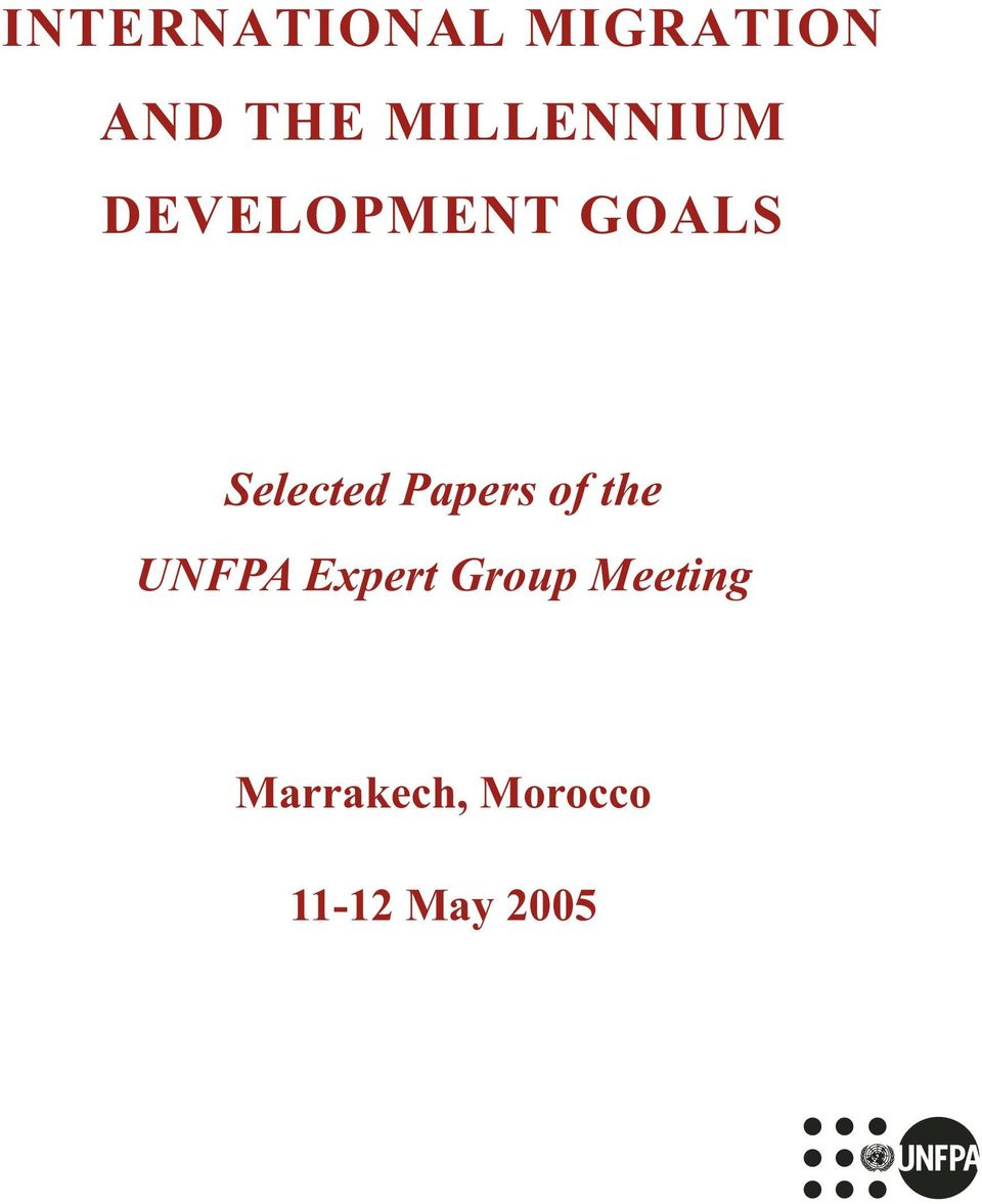 Selected Papers of the UNFPA Expert
