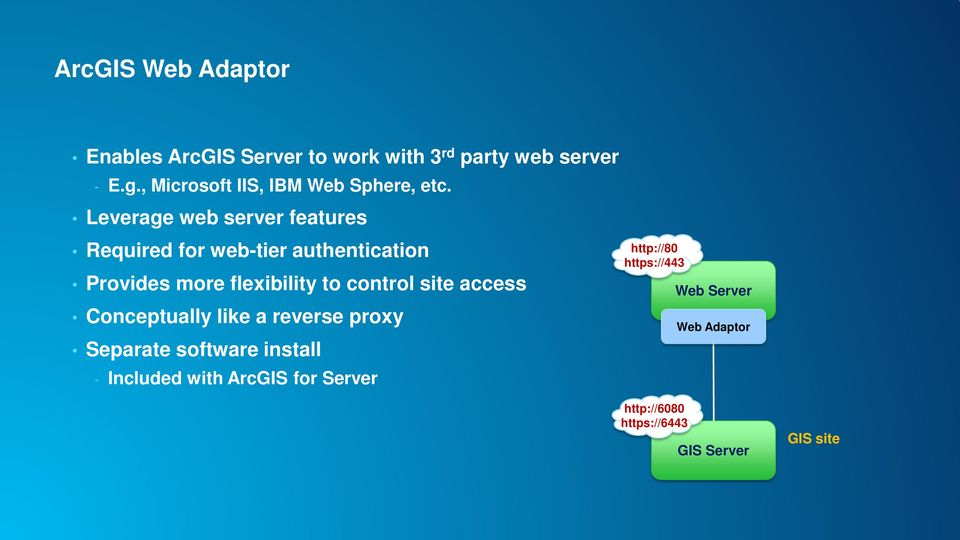 Leverage web server features Required for web-tier authentication Provides more flexibility to control