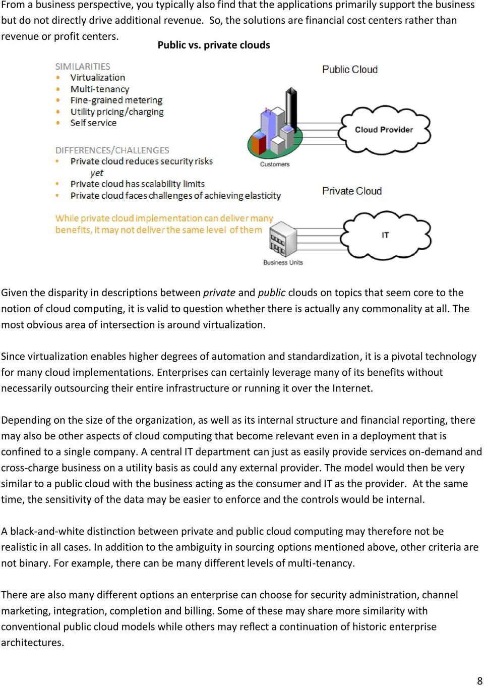 private clouds Given the disparity in descriptions between private and public clouds on topics that seem core to the notion of cloud computing, it is valid to question whether there is actually any