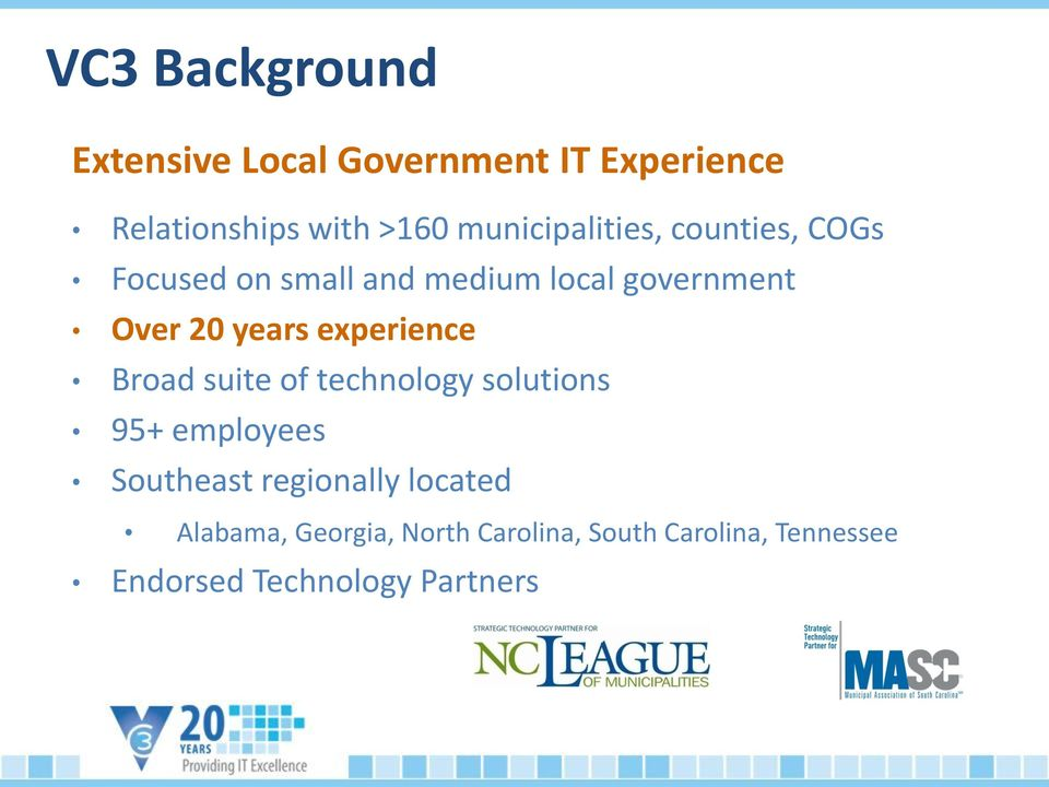 years experience Broad suite of technology solutions 95+ employees Southeast