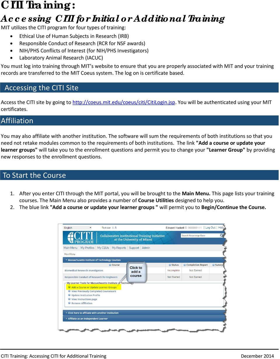 CITI Training: Accessing CITI for Initial or Additional Training - PDF