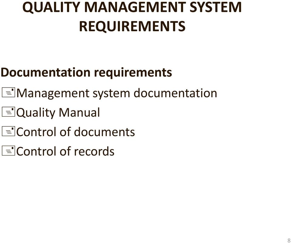 system documentation Quality Manual