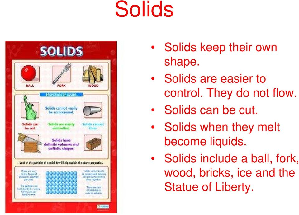 Solids can be cut.