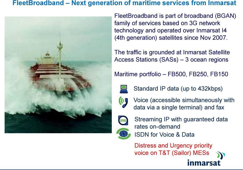 The traffic is grounded at Inmarsat Satellite Access Stations (SASs) 3 ocean regions Maritime portfolio FB500, FB250, FB150 Standard IP data (up to