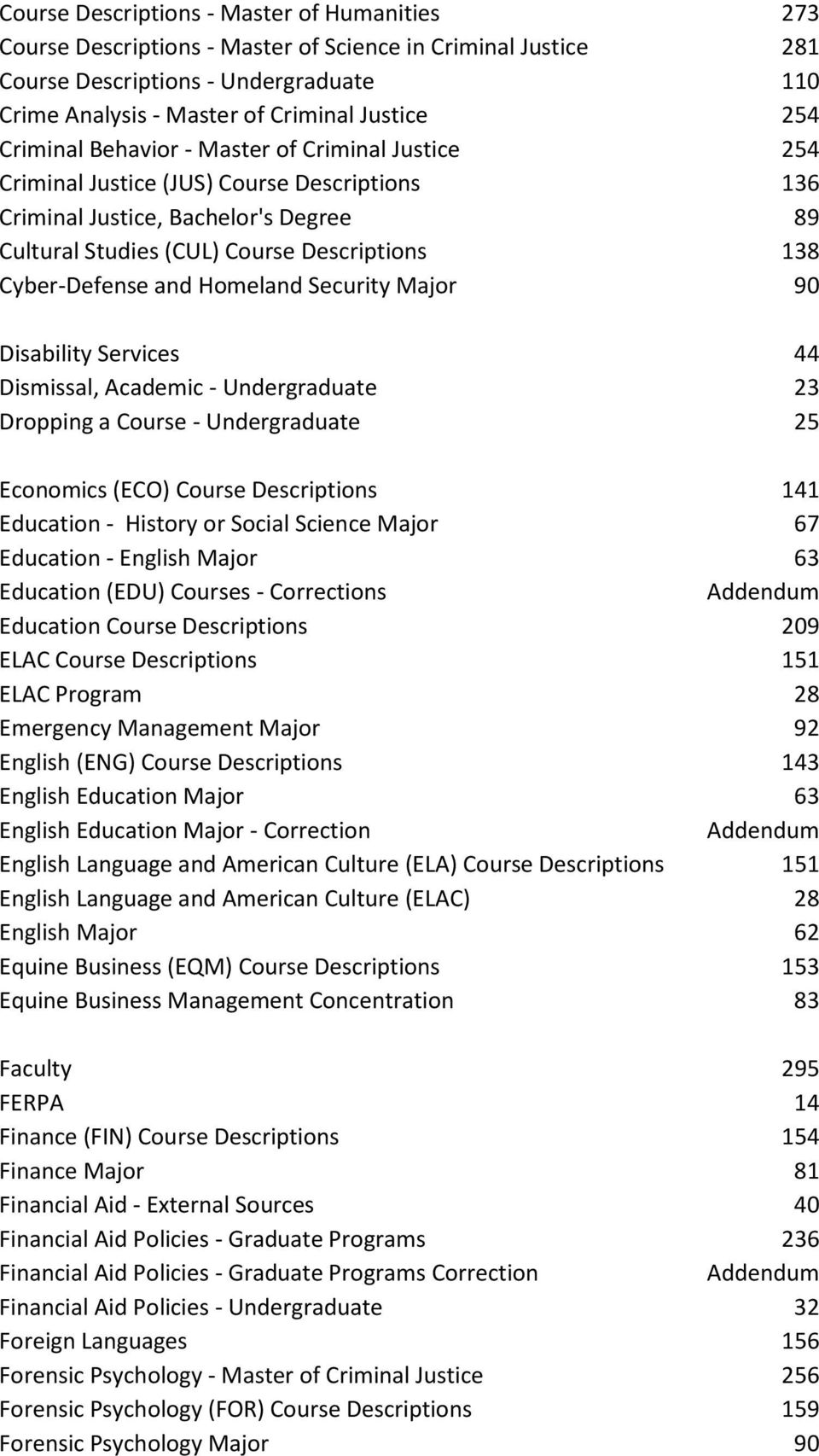 and Homeland Security Major 90 Disability Services 44 Dismissal, Academic - Undergraduate 23 Dropping a Course - Undergraduate 25 Economics (ECO) Course Descriptions 141 Education - History or Social