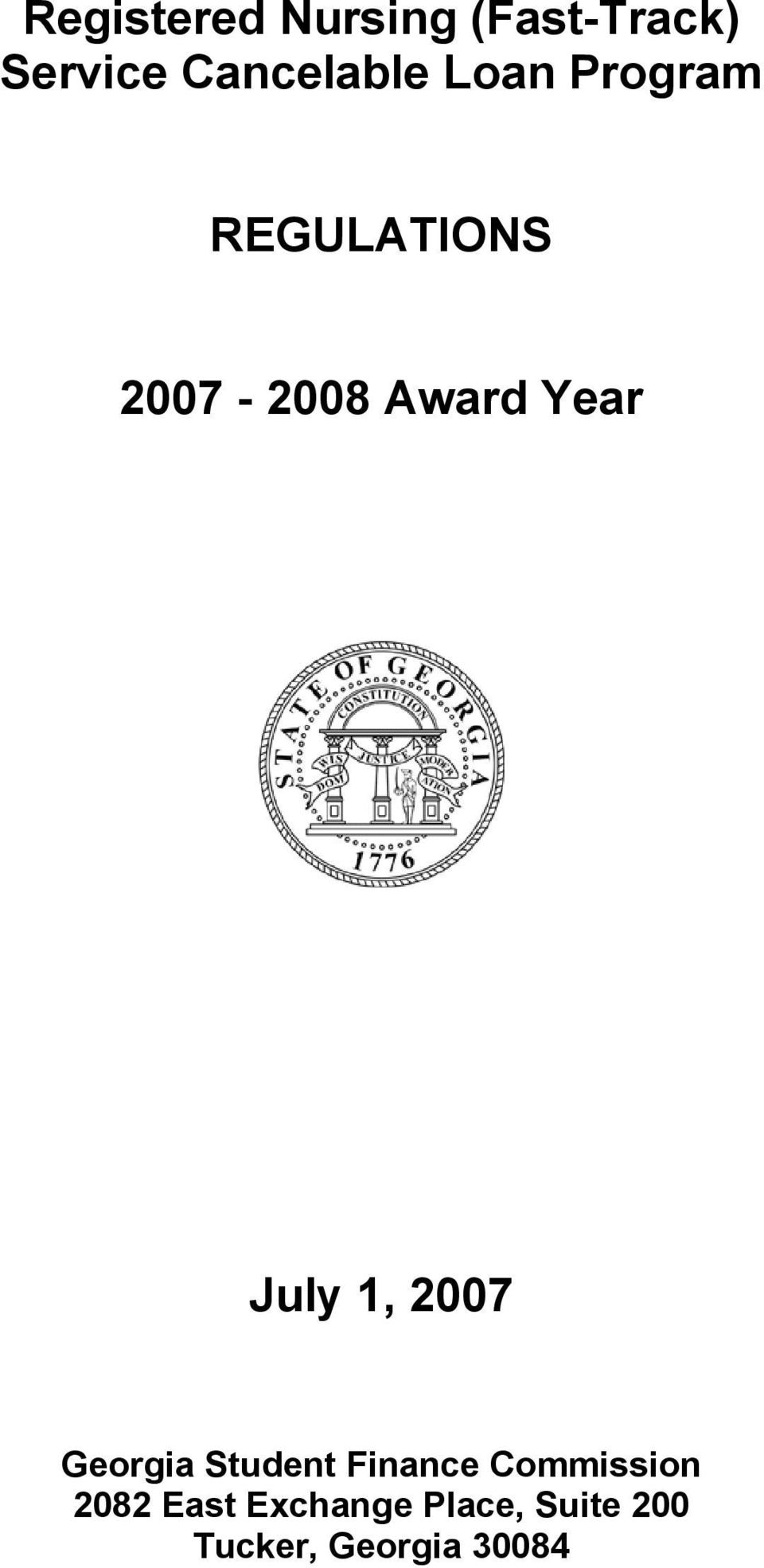 1, 2007 Georgia Student Finance Commission 2082