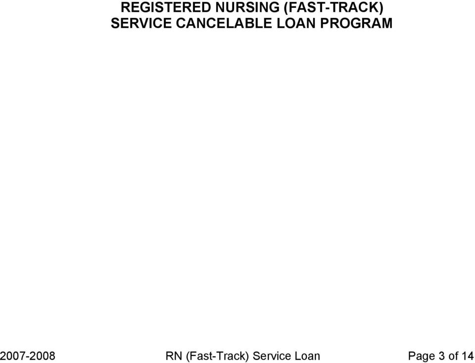 CANCELABLE LOAN PROGRAM