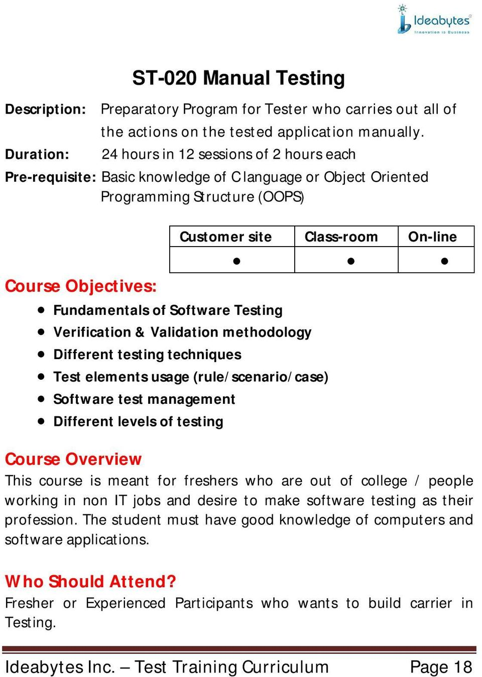 Fundamentals of Software Testing Verification & Validation methodology Different testing techniques Test elements usage (rule/scenario/case) Software test management Different levels of testing