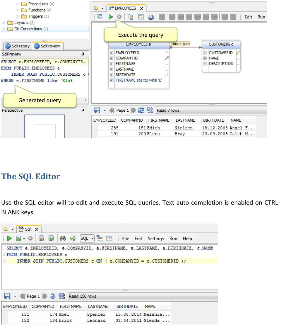 edit and execute SQL queries.