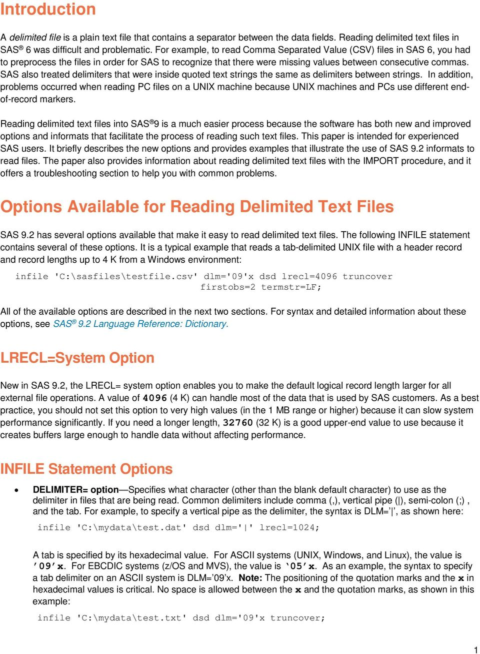 Technical Paper  Reading Delimited Text Files into SAS 9 - PDF