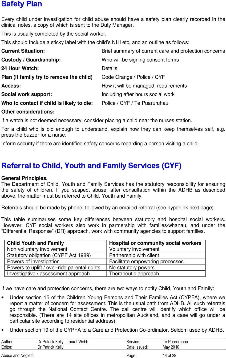 This should Include a sticky label with the child s NHI etc, and an outline as follows: Current Situation: Custody / Guardianship: 24 Hour Watch: Details Plan (if family try to remove the child)