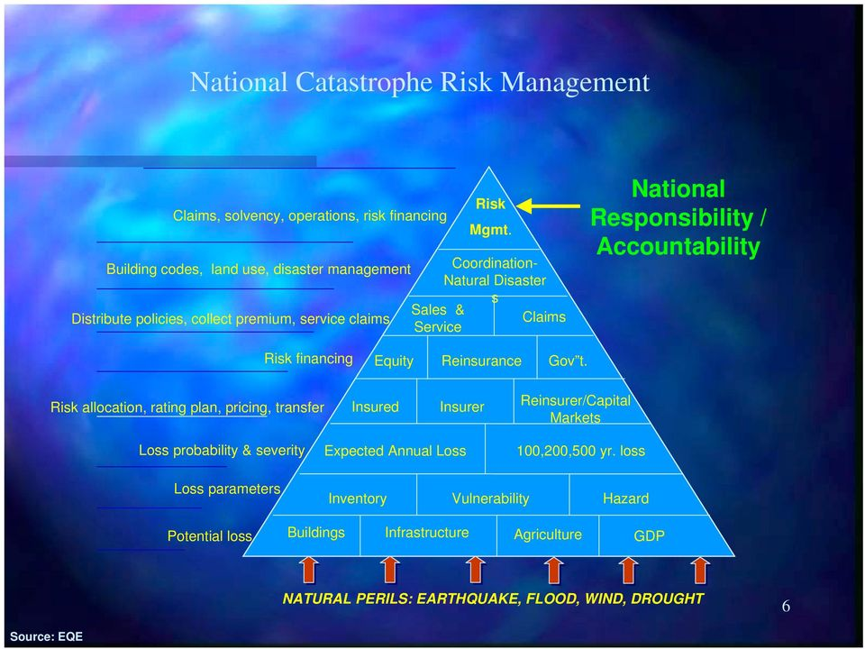 Responsibility / Accountability Risk financing Equity Reinsurance Gov t.