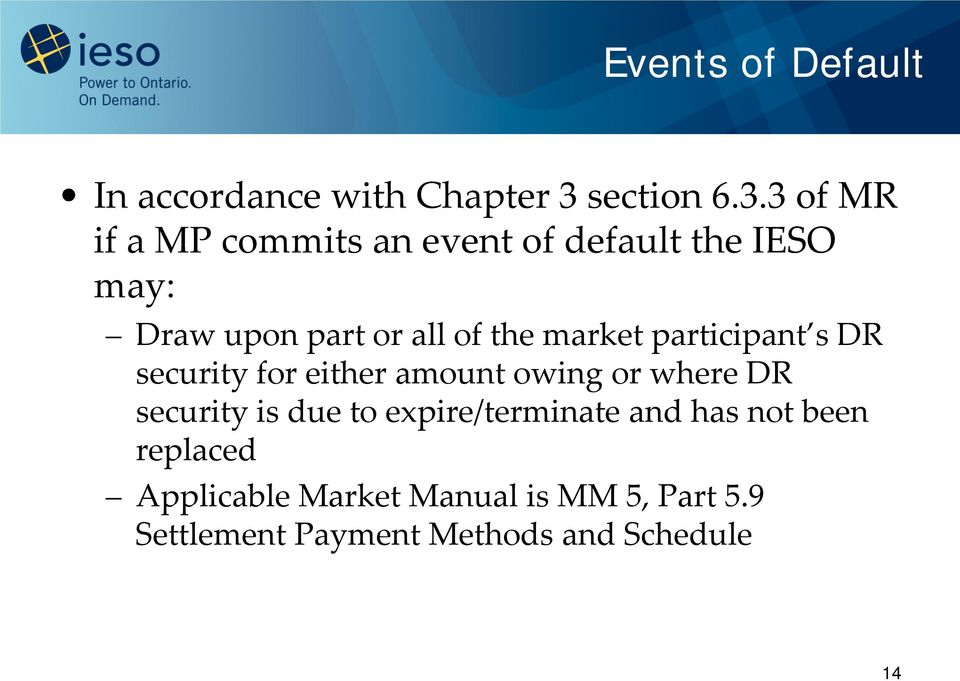 3 of MR if a MP commits an event of default the IESO may: Draw upon part or all of the