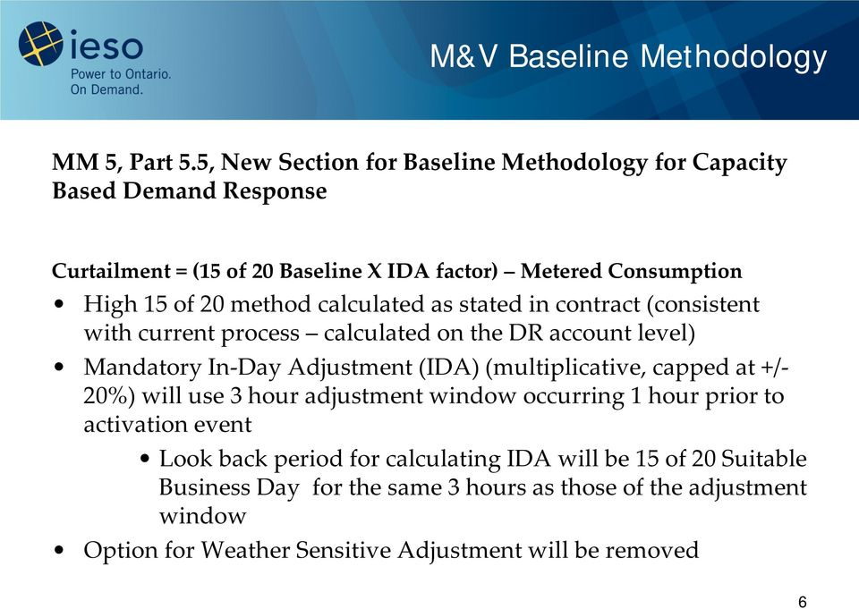 method calculated as stated in contract (consistent with current process calculated on the DR account level) Mandatory In-Day Adjustment (IDA) (multiplicative,