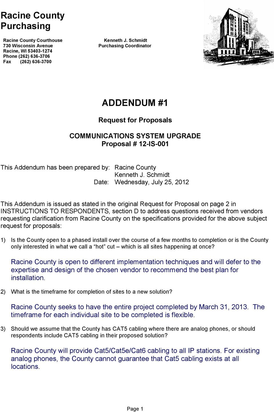 This Addendum has been prepared by: Racine County Kenneth J.