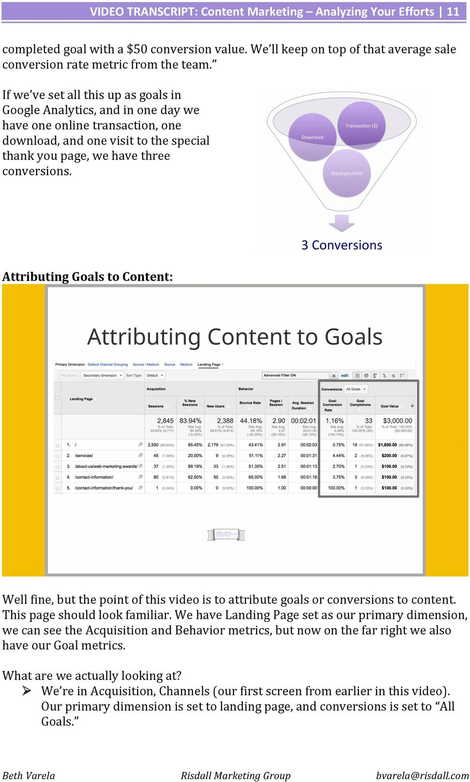 Attributing Goals to Content: Well fine, but the point of this video is to attribute goals or conversions to content. This page should look familiar.