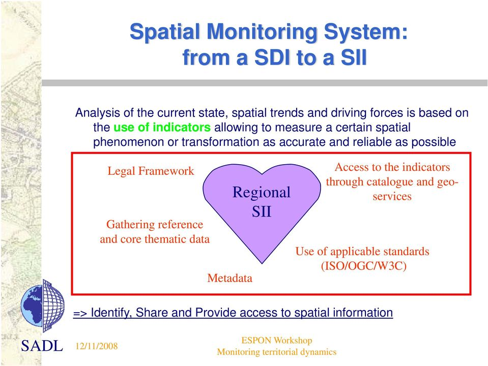 possible Legal Framework Gathering reference and core thematic data Metadata Regional SII Access to the indicators through