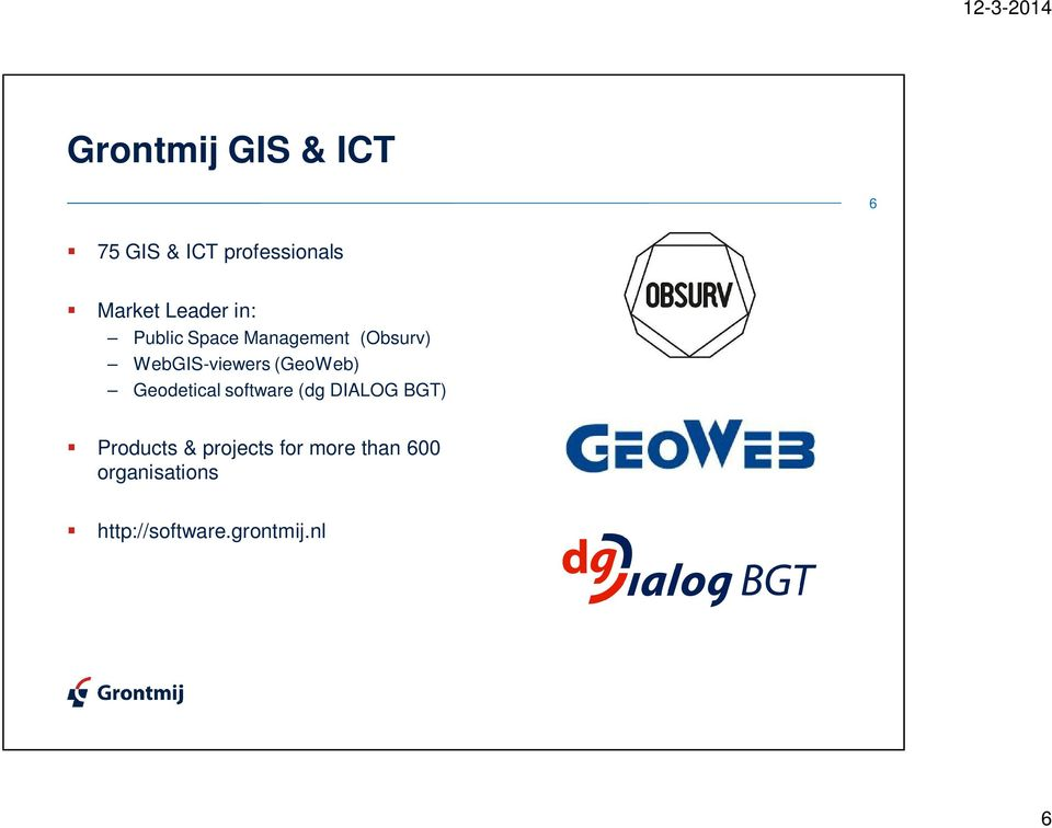 (GeoWeb) Geodetical software (dg DIALOG BGT) Products &