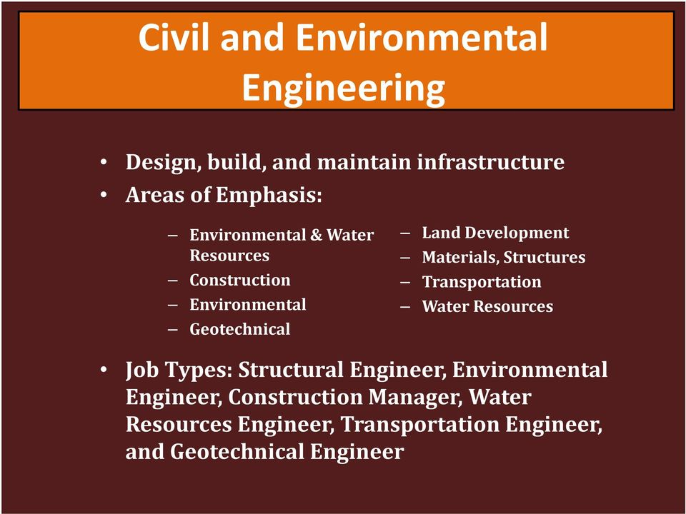 Materials, Structures Transportation Water Resources Job Types: Structural Engineer, Environmental