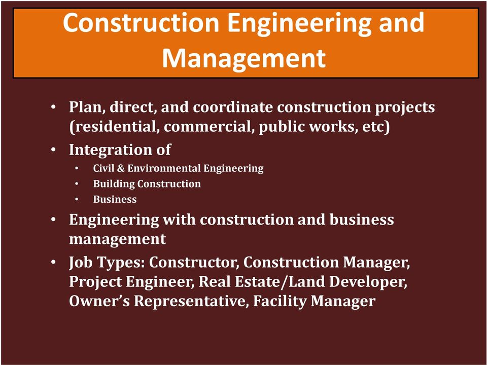 Building Construction Business Engineering with construction and business management Job Types:
