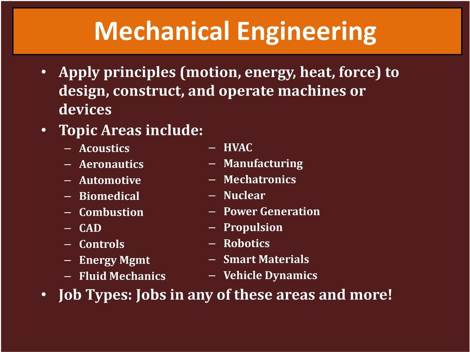 Automotive Mechatronics Biomedical Nuclear Combustion Power Generation CAD Propulsion Controls