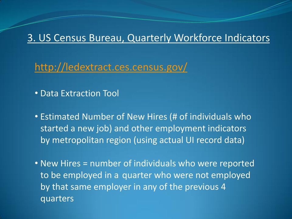 other employment indicators by metropolitan region (using actual UI record data) New Hires = number of