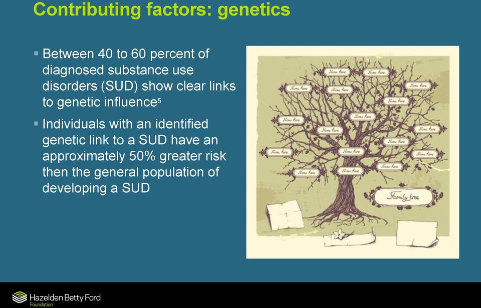 Individuals with an identified genetic link to a SUD have an