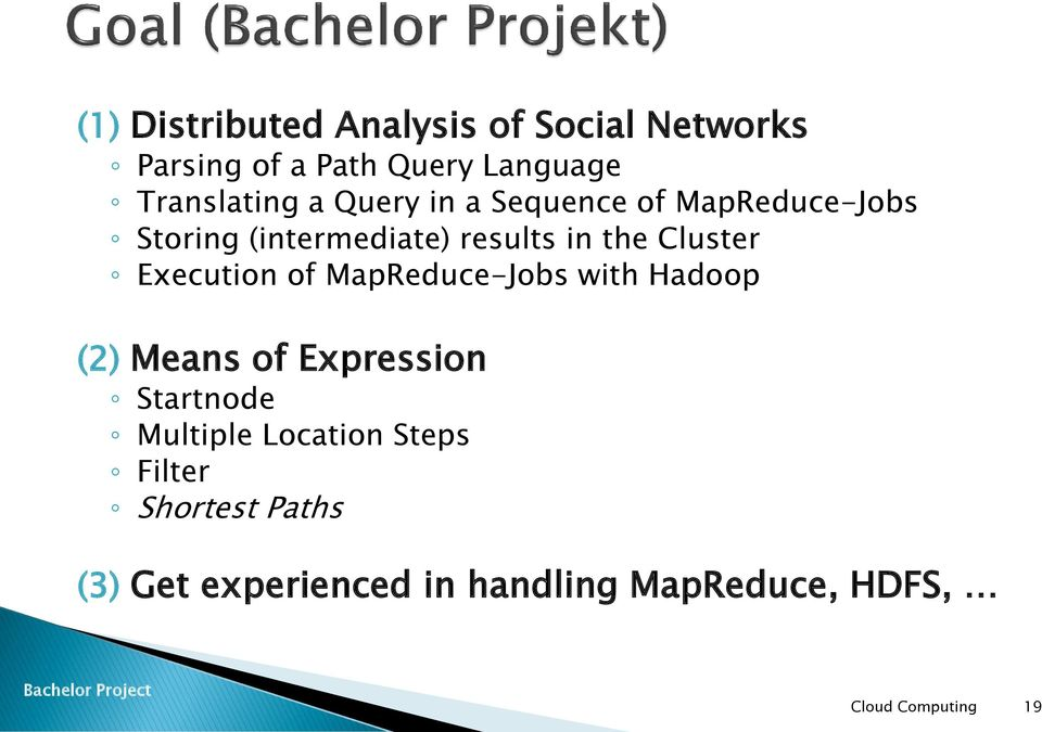 the Cluster Execution of MapReduce-Jobs with Hadoop (2) Means of Expression Startnode
