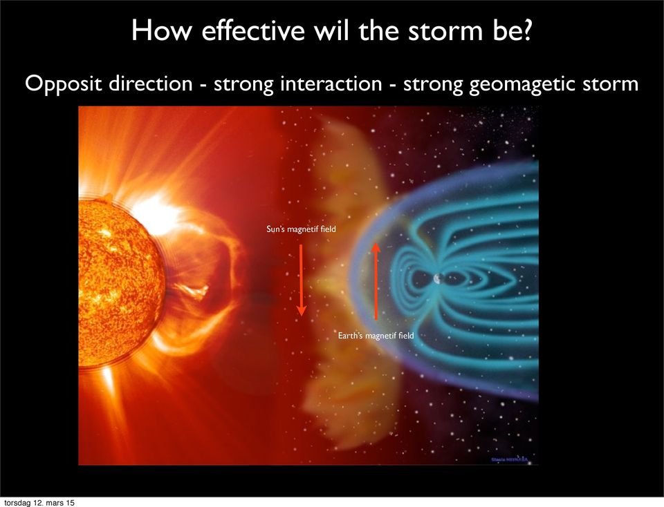 - strong geomagetic storm Sun s
