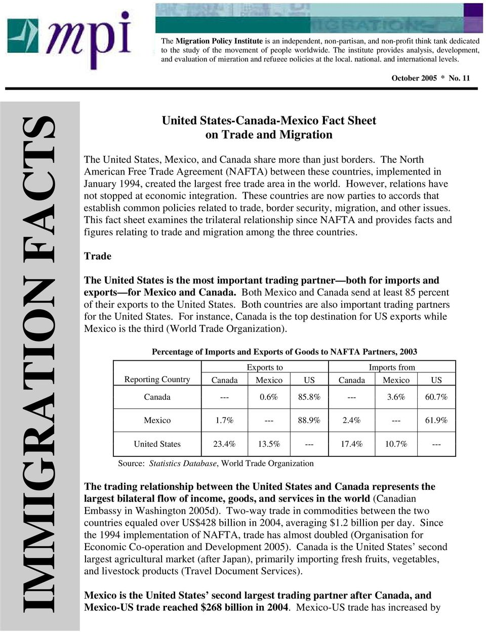 11 United States-Canada-Mexico Fact Sheet on Trade and Migration The United States, Mexico, and Canada share more than just borders.