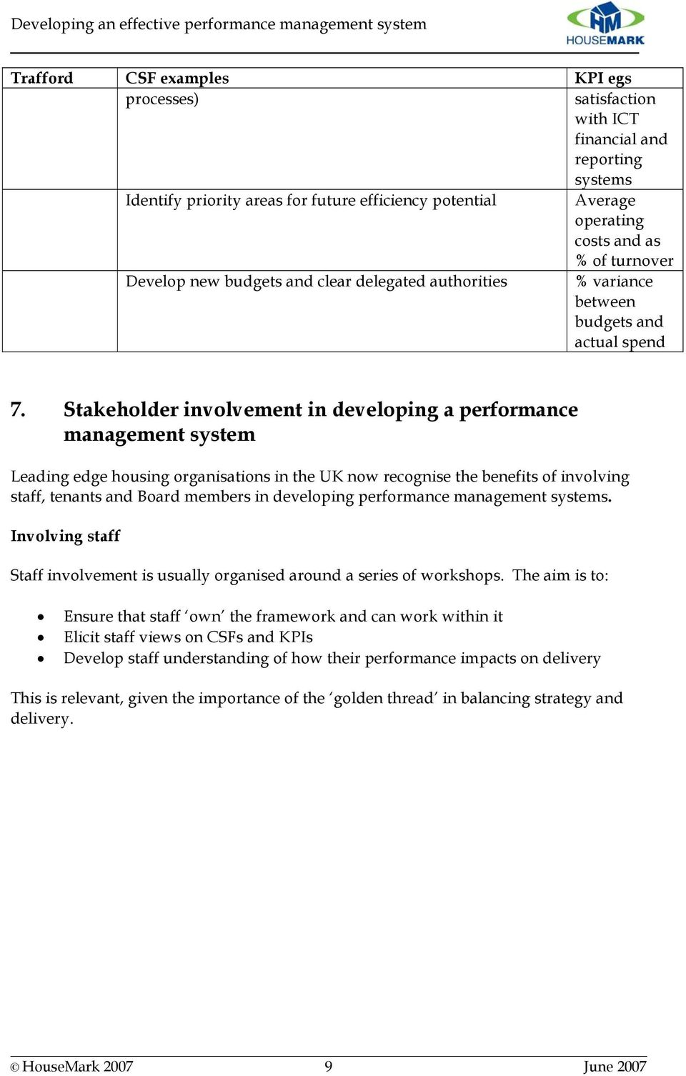 Stakeholder involvement in developing a performance management system Leading edge housing organisations in the UK now recognise the benefits of involving staff, tenants and Board members in