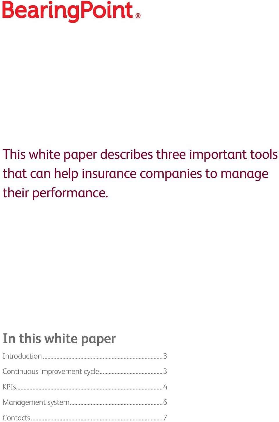 performance. In this white paper Introduction.