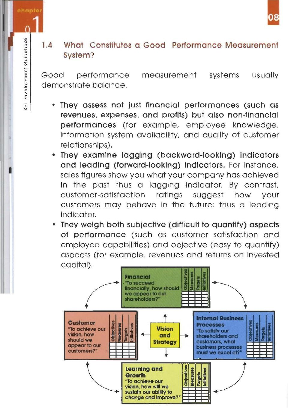 information system availability, and quality of customer relationships). They examine lagging (backward-looklng) indicators and leading (forward-looking) indlcators.