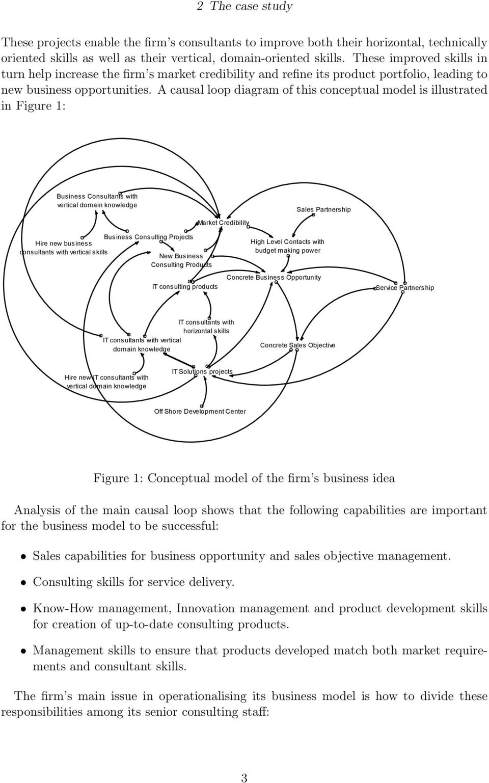 A causal loop diagram of this conceptual model is illustrated in Figure 1: Business Consultants with vertical domain knowledge Market Credibility Sales Partnership Hire new business consultants with