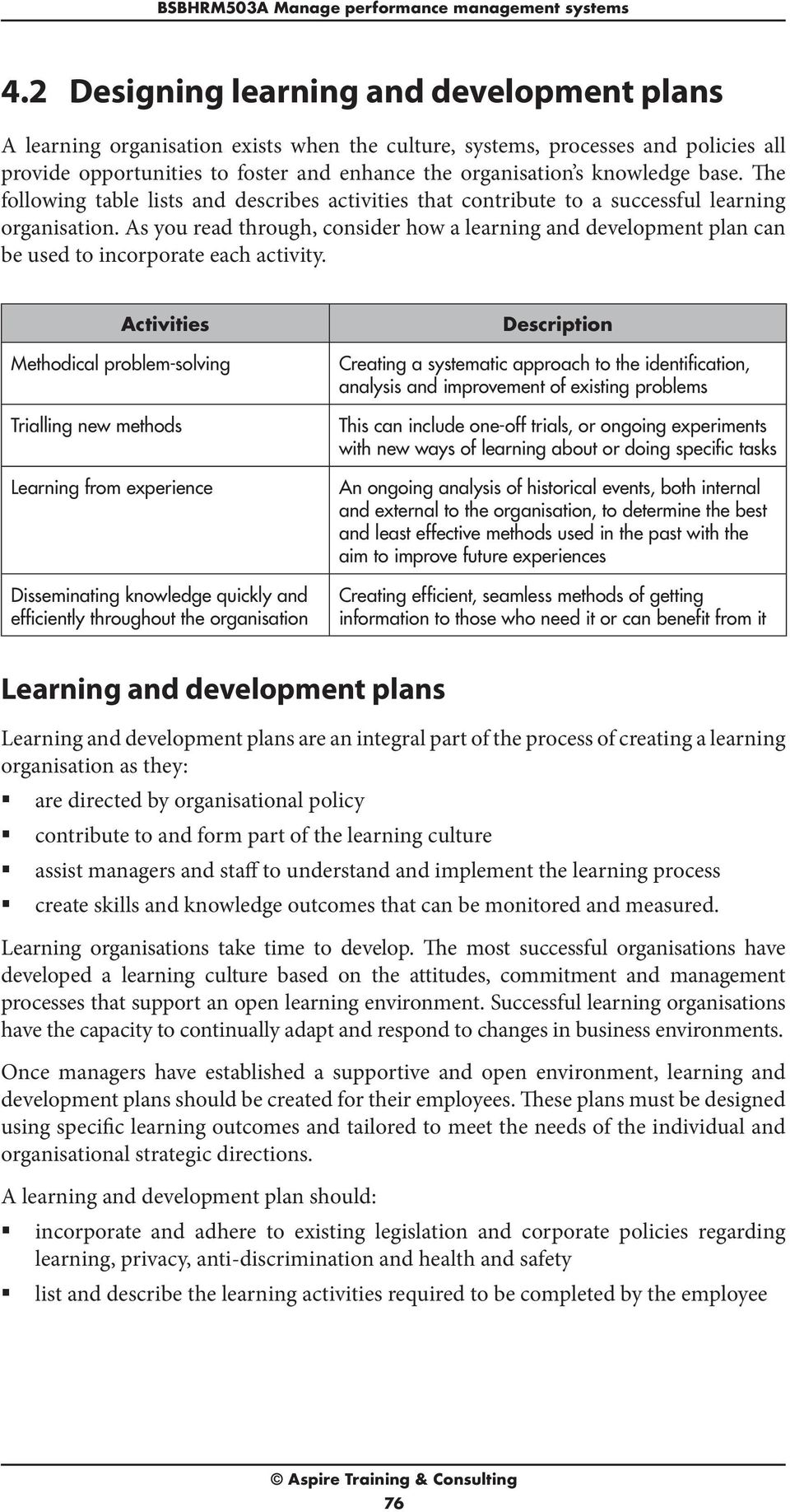 knowledge base. The following table lists and describes activities that contribute to a successful learning organisation.