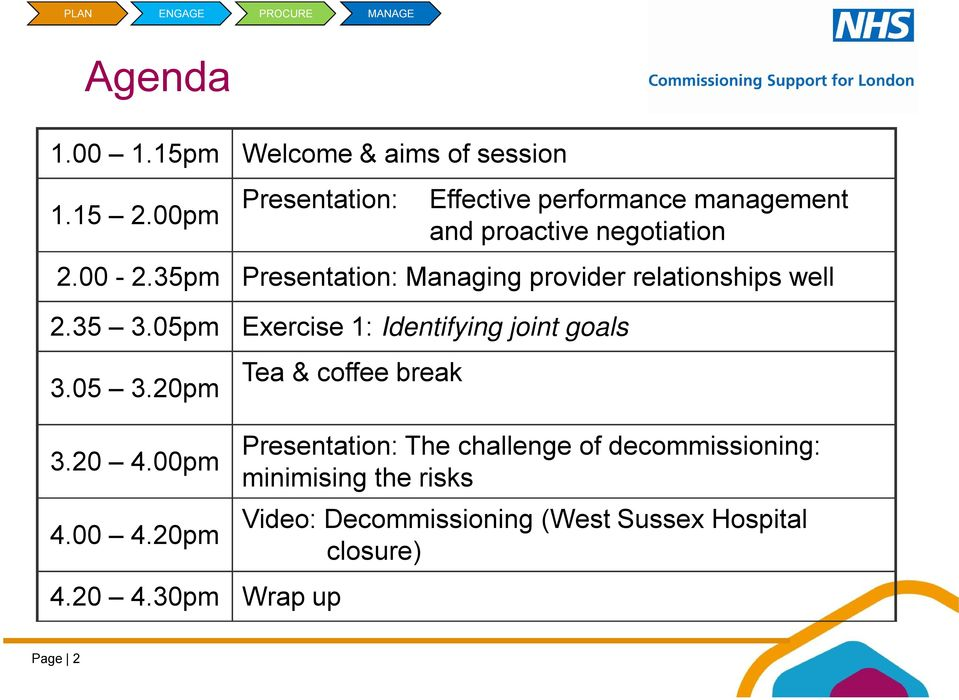 35pm Presentation: Managing provider relationships well 2.35 3.05pm Exercise 1: Identifying joint goals 3.05 3.