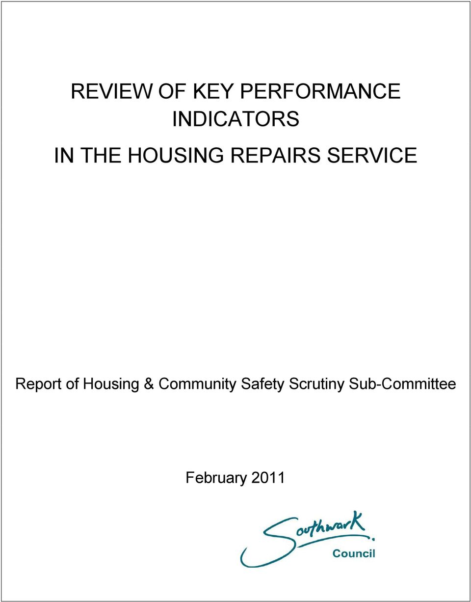 SERVICE Report of Housing &