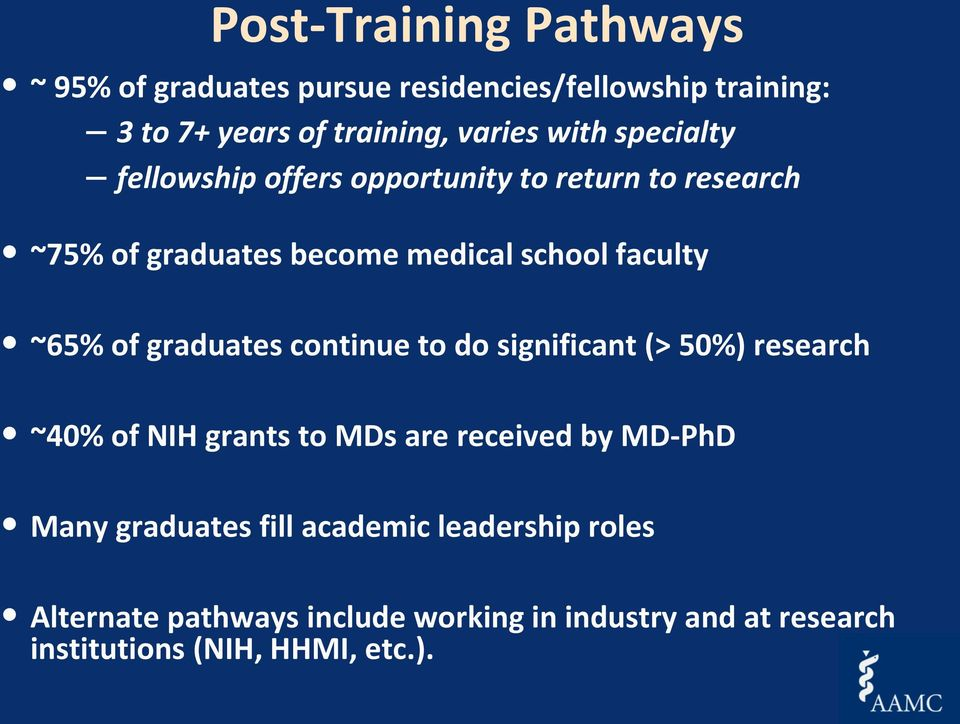 graduates continue to do significant (> 50%) research ~40% of NIH grants to MDs are received by MD-PhD Many graduates