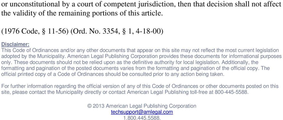 American Legal Publishing Corporation provides these documents for informational purposes only. These documents should not be relied upon as the definitive authority for local legislation.