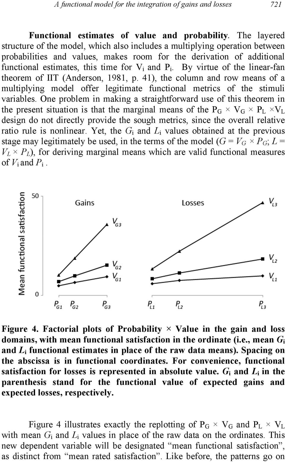 and P i. By virtue of the linear-fan theorem of IIT (Anderson, 1981, p. 41), the column and row means of a multiplying model offer legitimate functional metrics of the stimuli variables.