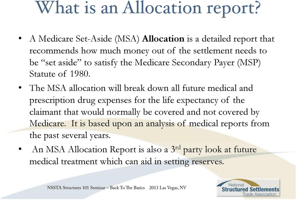 Medicare Secondary Payer (MSP) Statute of 1980.