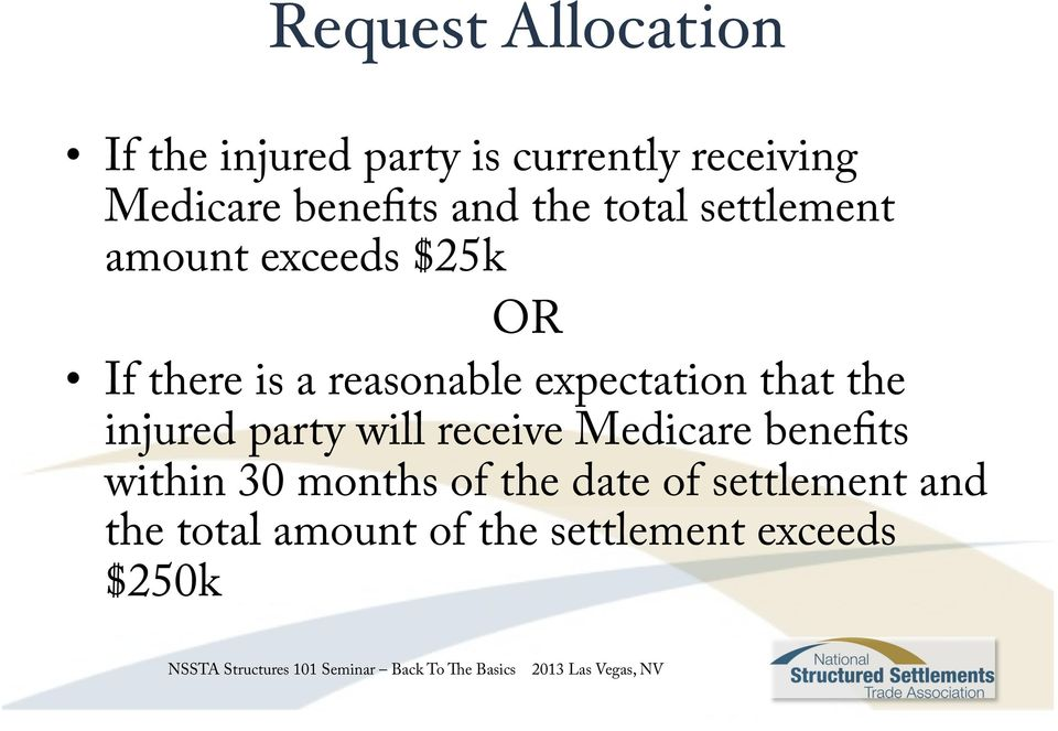 reasonable expectation that the injured party will receive Medicare benefits