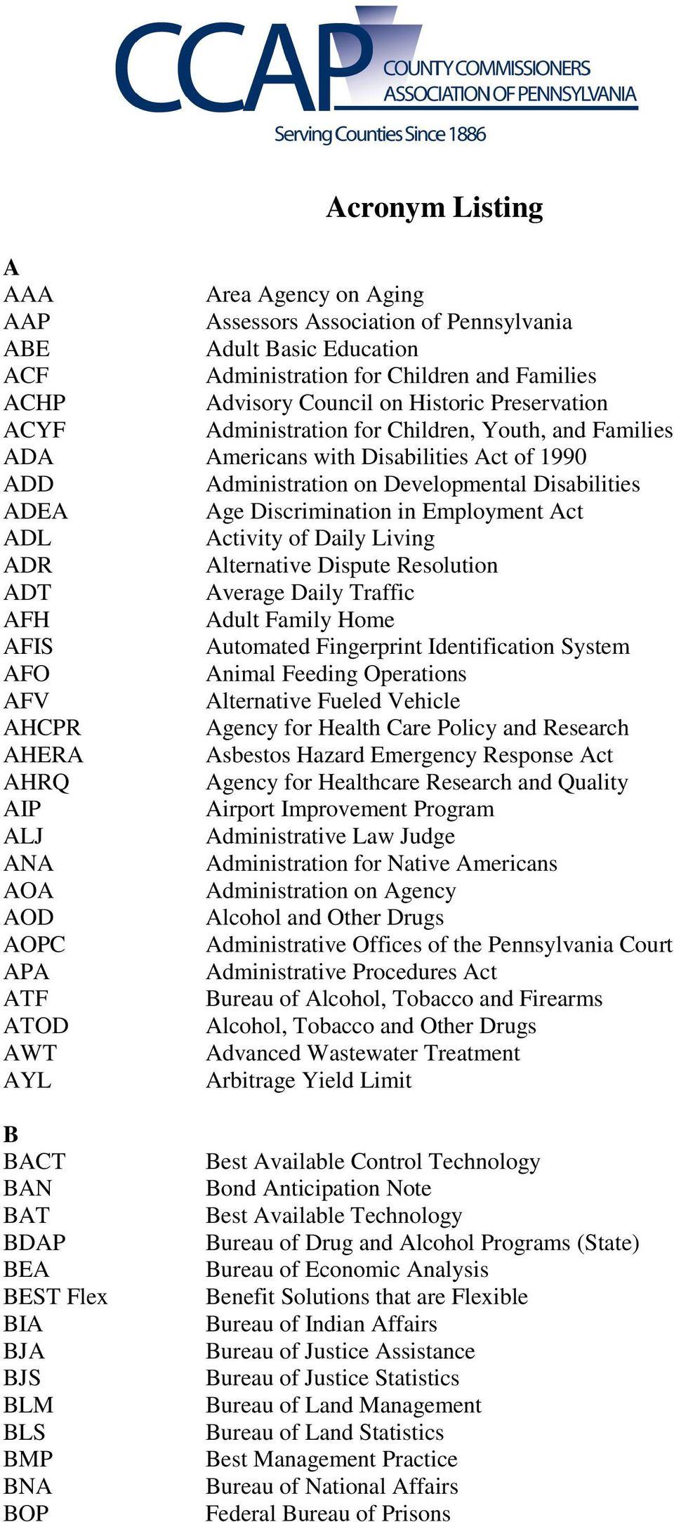 Act ADL Activity of Daily Living ADR Alternative Dispute Resolution ADT Average Daily Traffic AFH Adult Family Home AFIS Automated Fingerprint Identification System AFO Animal Feeding Operations AFV