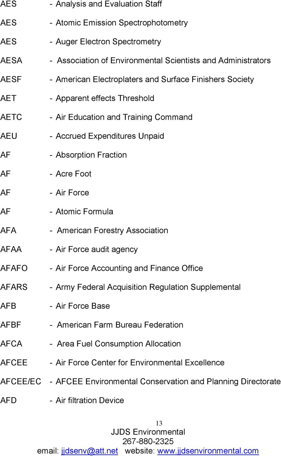 - Absorption Fraction - Acre Foot - Air Force - Atomic Formula - American Forestry Association - Air Force audit agency - Air Force Accounting and Finance Office - Army Federal Acquisition Regulation