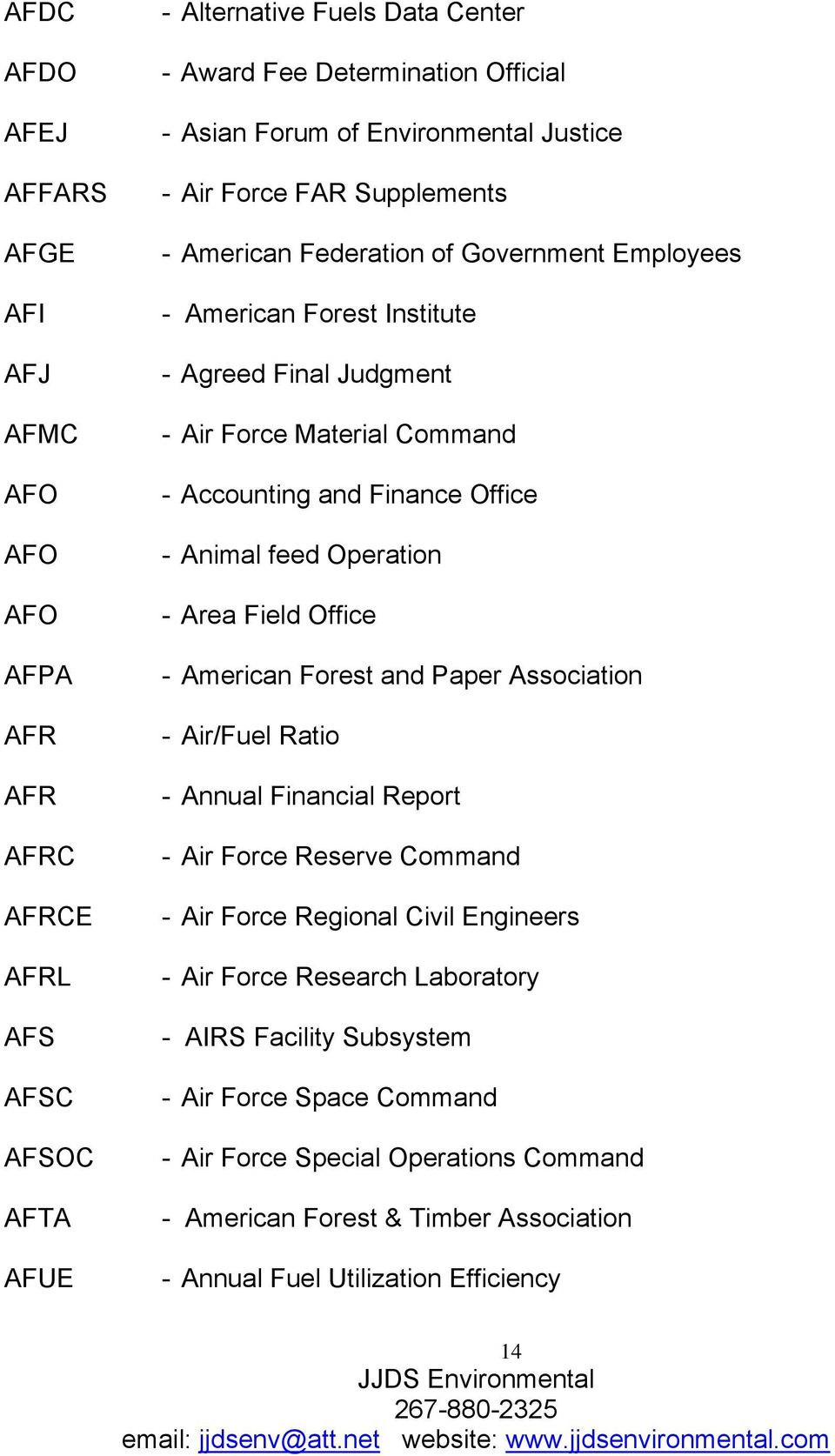 Finance Office - Animal feed Operation - Area Field Office - American Forest and Paper Association - Air/Fuel Ratio - Annual Financial Report - Air Force Reserve Command - Air Force Regional Civil