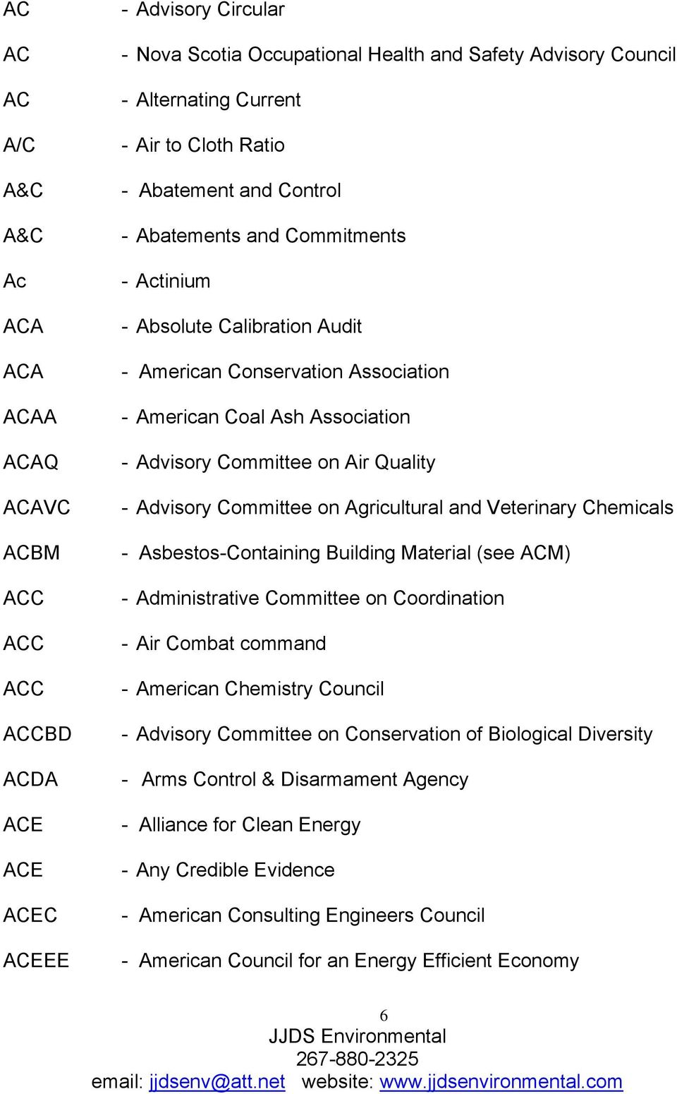 Committee on Air Quality - Advisory Committee on Agricultural and Veterinary Chemicals - Asbestos-Containing Building Material (see ACM) - Administrative Committee on Coordination - Air Combat